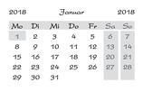 Minikalender für das Jahr 2018 (10er Packung)