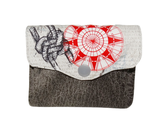 Petit porte-monnaie accordéon pour homme, en  tissu blanc cassé  avec rose des vents , faux cuir gris,  3 compartiments