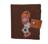 Petit portefeuille compact homme, toile de coton marron, broderie sports américains, 3 volets