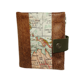 Petit portefeuille fin homme, faux cuir camel, tissu  coton kaki , tissu mappemonde, carte , voyage, aventure,  porte-cartes, 2 volets