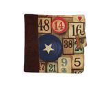 Portefeuille  homme original , faux cuir vieilli marron, tissu vintage jetons casino, 8  porte-cartes, 3 volets