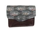 Porte-monnaie accordéon pour homme, en tissu Liberty avec voilier  et en faux cuir  marron,  3 compartiments