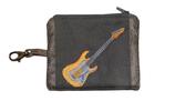 Petit porte-monnaie homme en faux-cuir gris  toile de coton avec porte-clés, broderie guitare