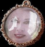 3x personalisiertes Bild-Medaillon mit Glascabochon, roségoldfarben