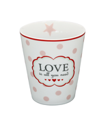Krasilnikoff Mug rosa/weiß Love