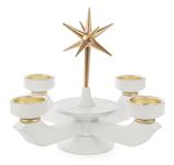 Adventsleuchter mit Stern klein, weiß für Teelichter