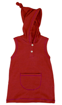 Tunique à capuche sans manches rouge Leela Cotton
