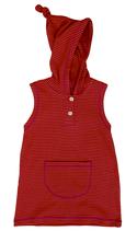 Tunique à capuche sans manches rouge Leela Cotton