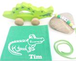 Nachziehtier Krokodil mit Noschi mittelgrün