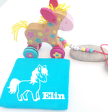 Nachziehtier Pony mit Noschi türkis