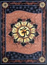 Tenture Batik OHM AUM OM - 100 % cotton - couvre lit