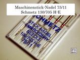 Maschinennadeln zum Maschinensticken, Flachkolben, Schmetz 75/11, 130/705, H-E, 5er Pack