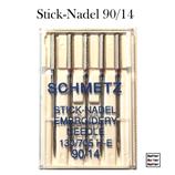 Maschinennadeln zum Maschinensticken, Flachkolben, Schmetz 90/14, 130/705, H-E, 5er Pack