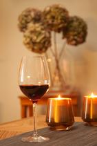 Kerze im Glas verspiegelt