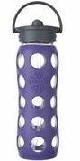 LIFEFACTORY GLASS BOTTLE - 650ml / Straw Cap / VIOLETT