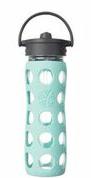 LIFEFACTORY GLASS BOTTLE - 470 ml / Straw Cap / TÜRKIS