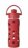 LIFEFACTORY Glass Bottle - 350ml / Flip / RED