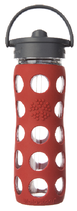LIFEFACTORY GLASS BOTTLE - 470 ml / Straw Cap / RED