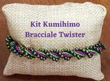 KIT Kumihimo Bracciale Twister Verde Fucsia