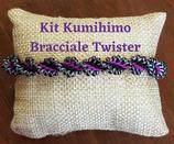 KIT Kumihimo Bracciale Twister Nero Fucsia