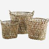 Großer Ovaler Bambus Korb Mit Henkeln Gr. 3. 49x41x41