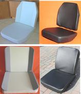 4 Schaumkerne+ 4 Sitzbezüge Kunstleder schwarz Unimog 406- 421 Standard+ ISRI 5002