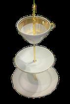 Etagere - Weiß mitbreitem Goldrand