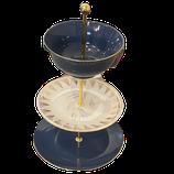 Etagere - Blau mit Goldrand/Gräser