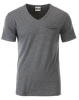 James & Nicholson | Herren Bio V-Neck T-Shirt mit Brusttasche | JN 8004