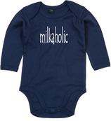 "Babywelt | Babybugz | 71.0030 |  BZ30 Baby Body langarm  |  Druck ""milkaholic"""