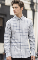 SF | SF560 | Brushed check casual shirt with button-down collar