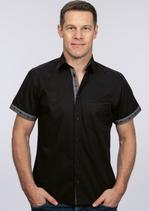 efbe | 177uniSPPO | Herren Hemd mit Stoffeinsatz Kurzarm
