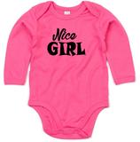 "Babywelt   Babybugz   71.0030    BZ30 Baby Body langarm     Druck ""Nice Girl"""