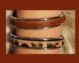Bracelet jonc cuirs poils