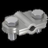 P1339 Vario-Trennklemme stahl-verzinkt, Ø 8-10mm/Ø 8-10 mm/30x3,5mm 2tlg. rd/rd/fl