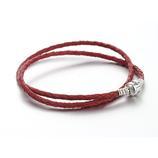 Ref.: 00006 Collar de cuero trenzado color rojo con broche de plata 925