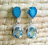 Ref.: 021670  Aretes en Druzi, Topacio Azul y Zircon montados en plata de ley 925