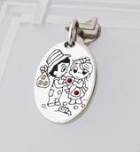 """Ref.: 00118  Medalla en plata 925 y zircon rojo """"love"""""""