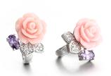 Ref.: 00059 Aretes  de plata 925 con rosa y amatista