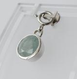 Ref.: 00140  Dije en plata 925 y piedra semipreciosa aguamarina