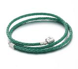 Ref.: 00007 Collar de cuero trenzado color verde y broche de plata 925