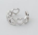 Ref.: 00038 Anillo abierto de corazones en plata 925