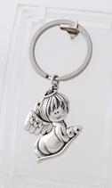 Ref.: 00001 Llavero en plata 925 con argolla de acero. Coleccion Angel