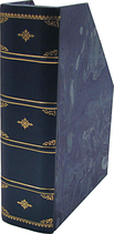 Portariviste in pelle blu con carta marmorizzata