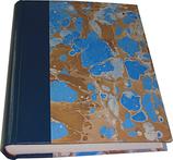 Album foto in pelle blu e carta marmorizzata
