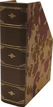 Portariviste in pelle marrone con carta marmorizzata
