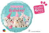 "Folienballon Geburtstag ""Happy Birthday"" süße Hunde"