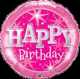 """Folienballon Geburtstag """"Happy Birthday"""" pink mit Sternen"""