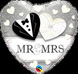 """Folienherz """"Mr. & Mrs. Brautkleid"""" / 45 cm"""