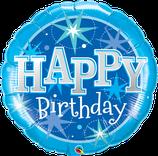 """Folienballon Geburtstag """"Happy Birthday"""" blau mit Sternen"""
